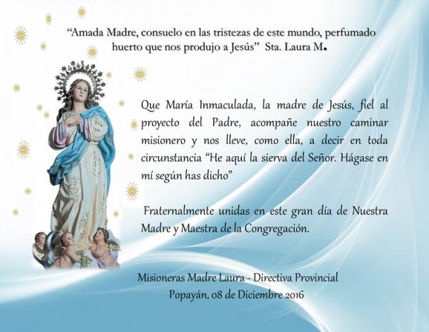 Saludo en la Fiesta de la Inmaculada
